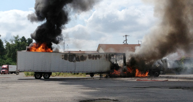 semi-trailer fire